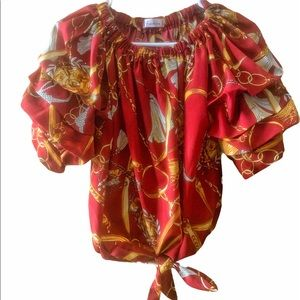 WOMENS RED AND GOLD RUFFLE SLEEVE BLOUSE